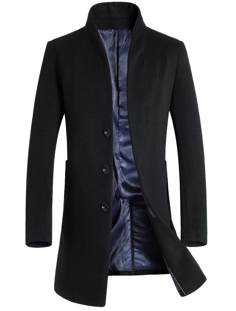 Mordenmiss Men's French Woolen Coat Business Down Jacket Trench Topcoat Black M by Mordenmiss