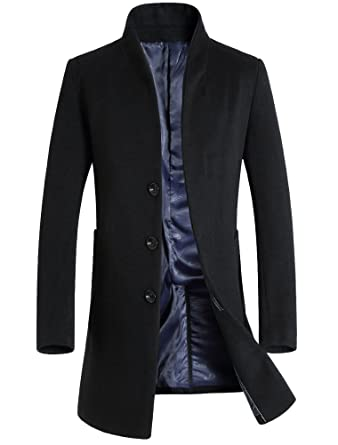 a106115c8fcc Mordenmiss Men's French Woolen Coat Business Down Jacket Trench Topcoat  Black XS