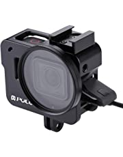 PULUZ Aluminum Alloy CNC Housing Shell Case Protective Cage with 52mm UV Lens Filter for GoPro HERO 7 Black/New HERO 2018 / HERO 5 / HERO 6 (No Back Cover version) (Black)