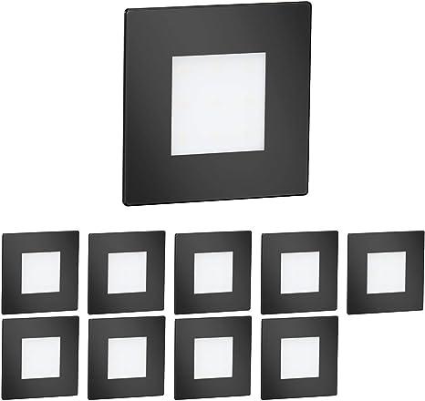 8,5x8,5cm 230V eckig kaltweiß schwarz LED Treppen-Licht FEX Treppen-Leuchte