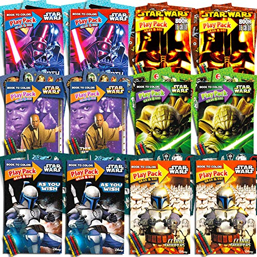 Star Wars Party Favors Set -- 12 Jumbo Star Wars Play Packs Filled with Coloring Books, Crayons and Stickers (Classic Trilogy)]()