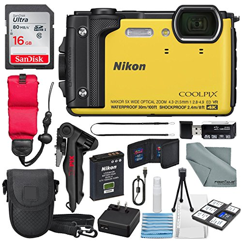 - Nikon COOLPIX W300 Digital Camera (Yellow) w/WiFi and Adventure Bundle with 16GB + Case + Deluxe Starters Kit + Floating Strap + FiberTique Cleaning Cloth + More