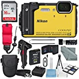 Nikon COOLPIX W300 Digital Camera (Yellow) w/WiFi and Adventure Bundle with 16GB + Case + Deluxe Starters Kit + Floating Strap + FiberTique Cleaning Cloth + More