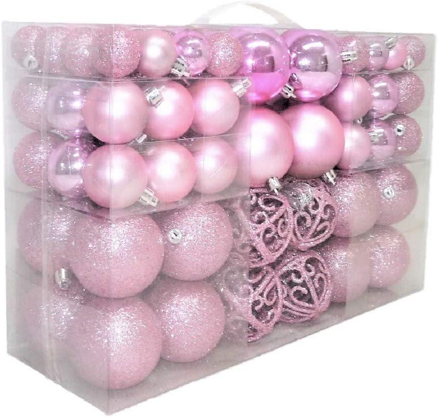 Geschenkestadl Set de bolas para árbol de Navidad, 100 unidades, hasta 6 cm de diámetro, acabado brillante, con purpurina y mate, color rosa: Amazon.es: Hogar