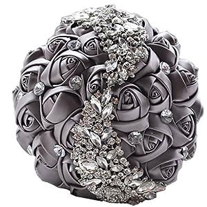 MOJUN Handmade Diamond Rhinestone Brooch Bridal Hold Flowers Wedding Bouquet 86