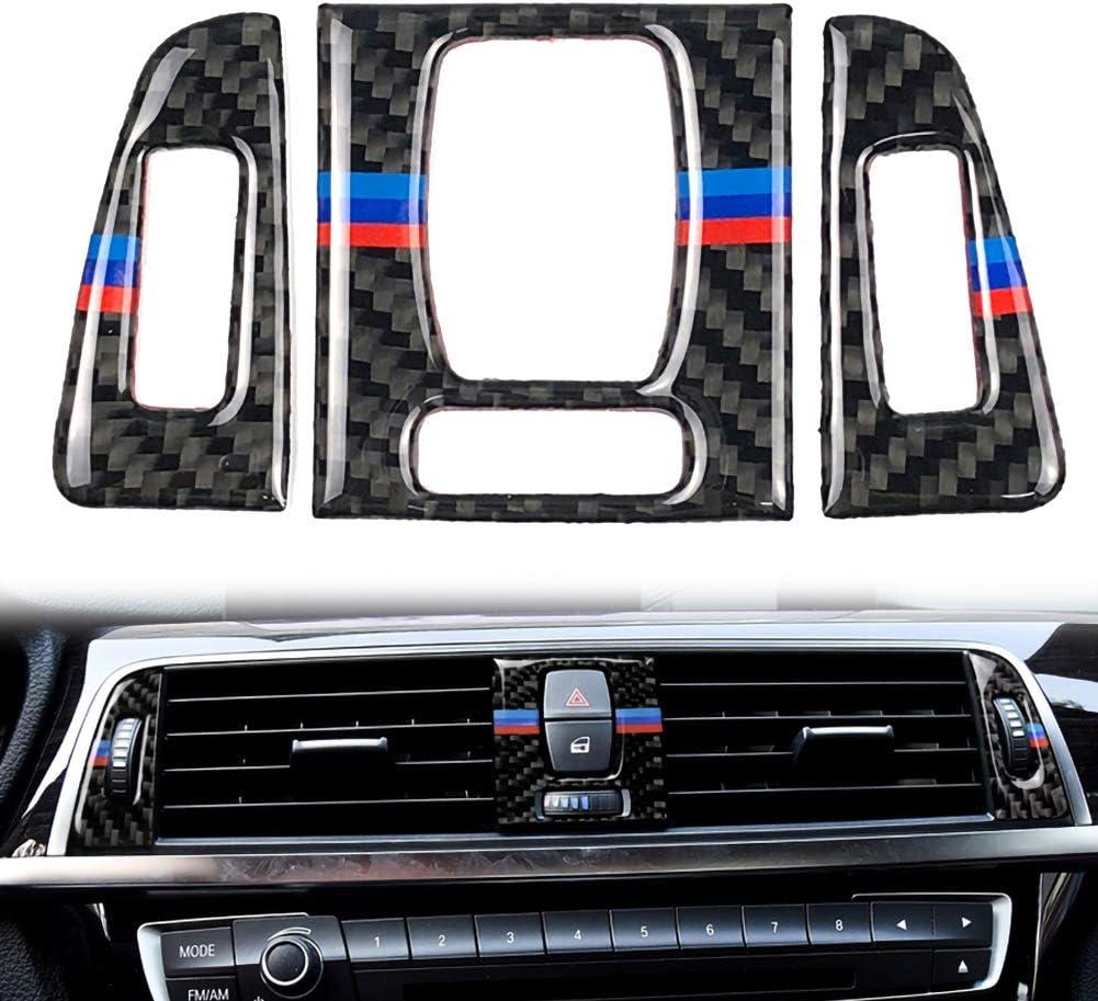 Central Air Conditioner Outlet Decoration AMHDEE Carbon Fiber Central Air Conditioning Vent Outlet Cover Trim Frame for BM W 3 Series 4 F30 F31 Car Interior Decor Decal