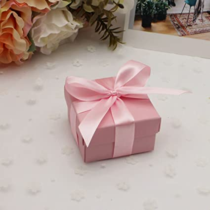 Aimtohome Candy Gift Boxes With Lids And Ribbon Small Square Pink Candy Favors Boxes For Wedding Baby Bridal Showers Birthday Party Supply Pack Of 50