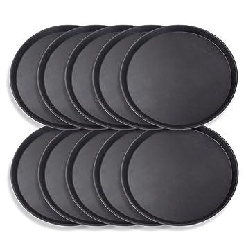 S/o® 10 unidades Gastro Bandeja 35,5 x 2 cm redondo negro