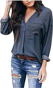 ZODOF Mujer Camisas Manga Larga Blusa Elegante Llanura Cuello en V Bolsillo Irregular Camisa Tops Blusas Sudaderas(Gris,XXXL): Amazon.es: Electrónica