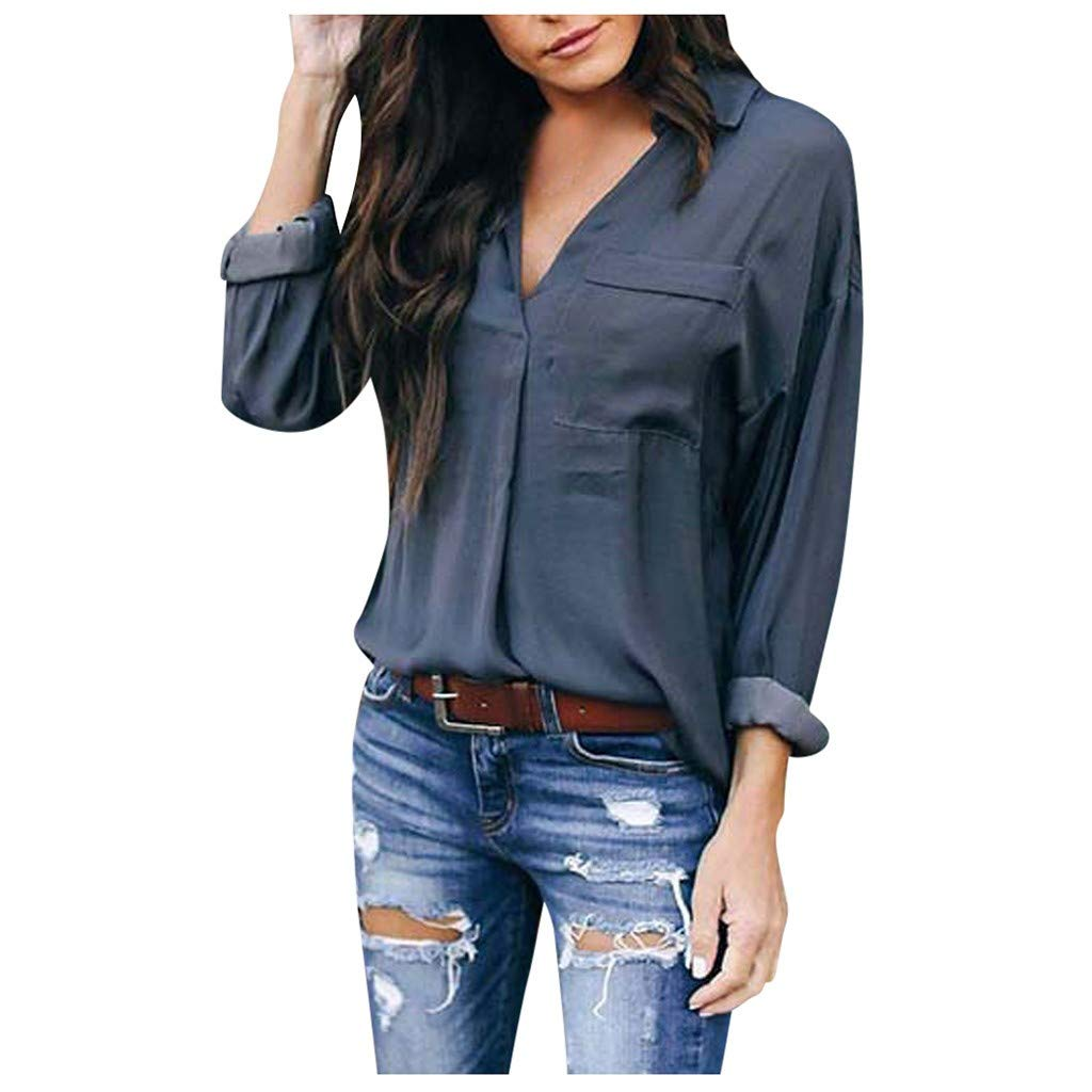Women Stylish Blouses,Women Autumn Shirt Solid Tee Sexy V-Neck Top Long Sleeve Pocket Tunics Loose Sweaters Gray by LINYIOU77