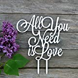 Wedding Cake Topper All you need is love Cake topper for wedding decorations HappyPlywood (white)