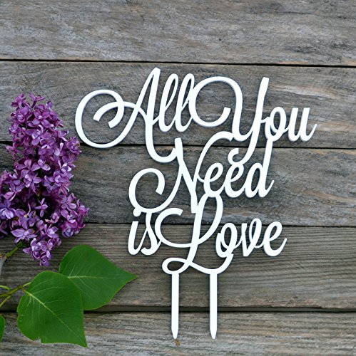 Wedding Cake Topper All you need is love Cake topper for wedding decorations HappyPlywood (white) by HappyPlywood