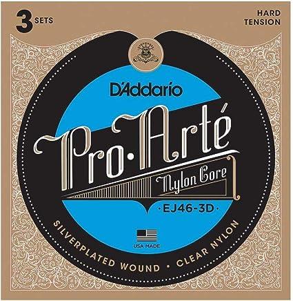 Oferta amazon: D'Addario EJ46-3D - Juego de cuerdas para guitarra clásica de nylon con entorchado de plata.028- .044 (tensión alta)