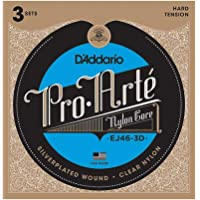 D'Addario EJ46-3D - Juego de cuerdas para guitarra clásica de nylon con entorchado de plata.028- .044 (tensión alta)