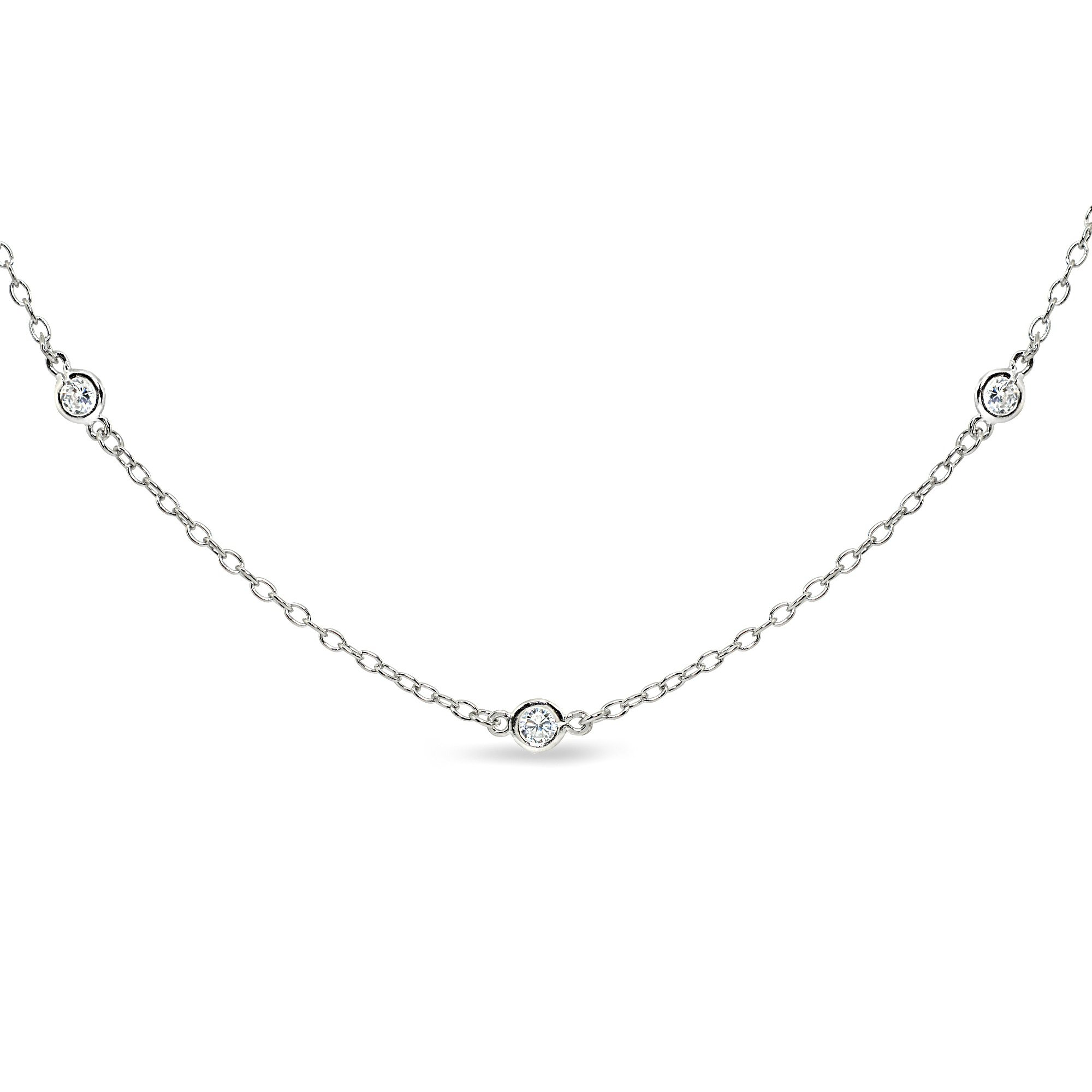 GemStar USA Sterling Silver Cubic Zirconia Station Dainty Chain Choker Necklace