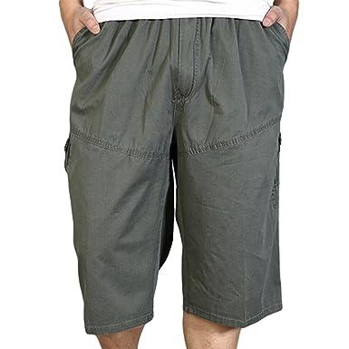 3cd3b9b055ad Heheja Herren Bermuda Cargo Shorts Mit Taschen Männer Baumwolle Vintage  Kurze Hosen Armee Grün 4XL