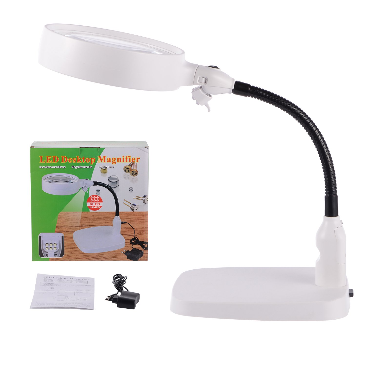 XYK Large LED Lighted Magnifier with Stand - Folding Design with 6 LED Lamp - Best 8X Hands Free Magnifying Glass with Light for Reading