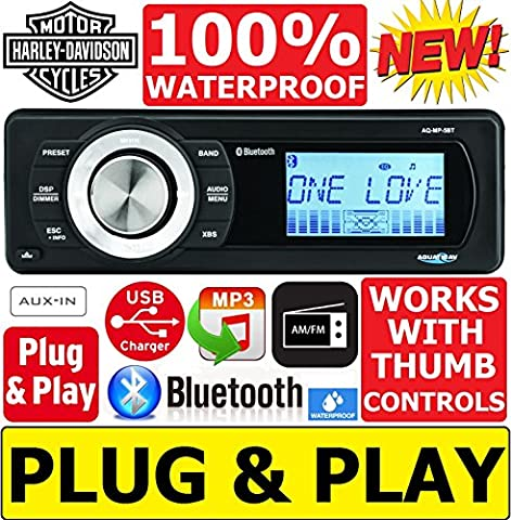 Plug -And -Play Harley Davidson Touring 1998-2013 Aquatic A/V Waterproof Radio Stereo Works With Thumb Controls