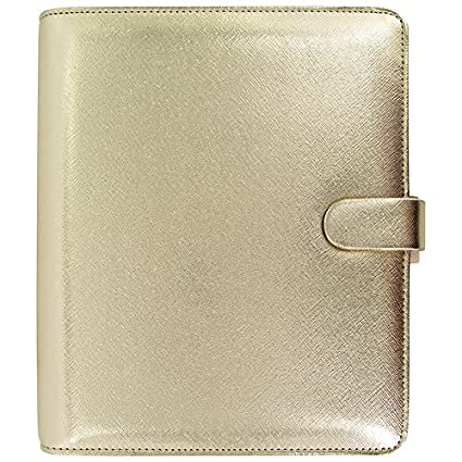 Filofax 2016 Saffiano A5 PU-Leather Organizer Agenda Gold Limited Edition with DiLoro Jot Pad Notepad Refill 022507