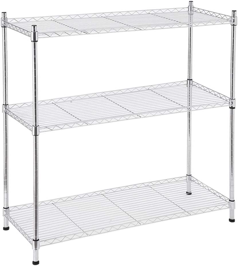 RTYou 3-Shelf Shelving Unit Supreme 3 Tier Shelving with Adjustable Shelves and Leveling Feet 91x35x91cm 【Ship from USA 】
