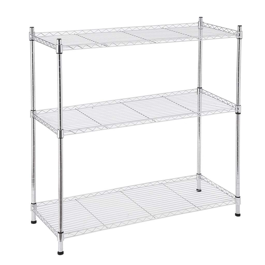 Swyss 3 Tier Shelving Shelf ith Adjustable Shelves and Leveling Feet Storage Rack Perfect for Kitchen Garage Pantry Organization,14 x 36 x 36 inches