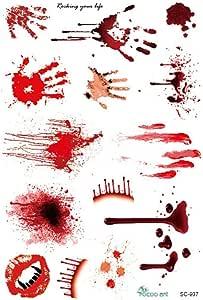Waterproof Temporary Tattoo Halloween Bloody Bleeding Scary Scars