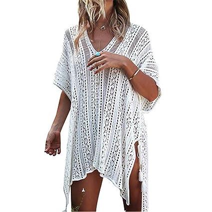 cc7e6cd83b2fe Encubrimiento floral Traje de baño de mujer Cubrir V Cuello de ganchillo  Bikini Vestido de baño ...
