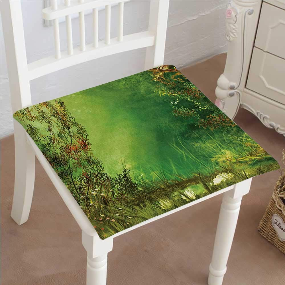 Mikihome Outdoor Chair Cushion Dreamland Butterflies Fairytale Land Grass Lizard Romantic Scenic Art Green Comfortable, Indoor, Dining Living Room, Kitchen, Office, Den, Washable 20''x20''x2pcs