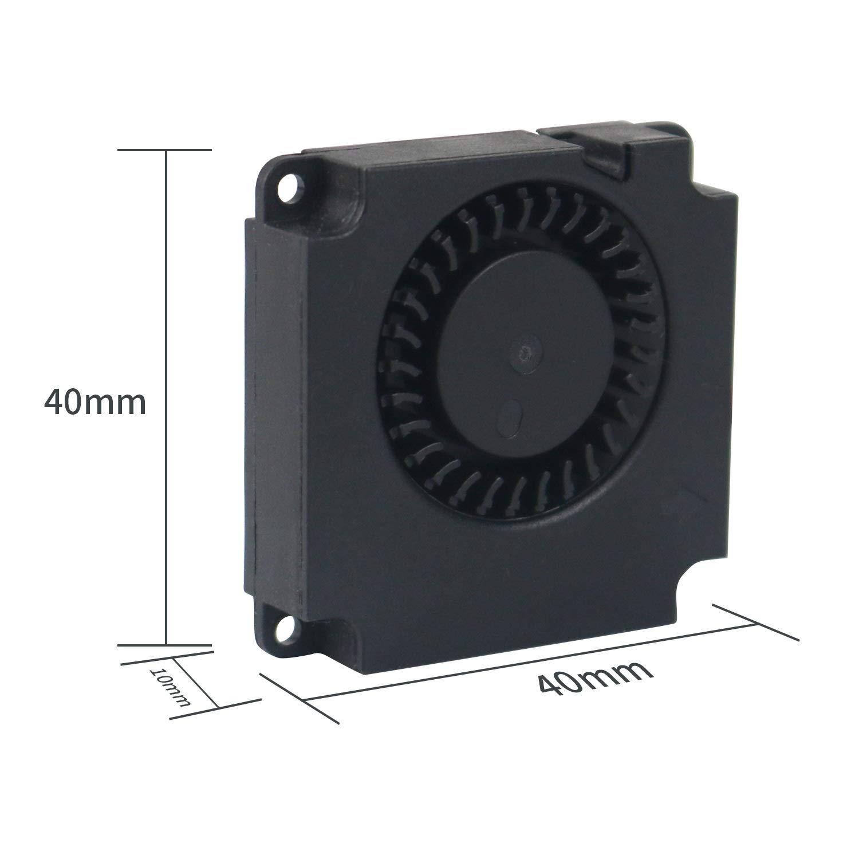 HAWKUNG 2 Pezzi Ventola di Raffreddamento Turbina Idraulica Turbo Fan 4010 40 x 40 x 10 mm Connettore DC 12V 2 Pin Cuscinetto Silenzioso Dissipatore di Calore Senza Spazzole per Stampante 3D Hotend