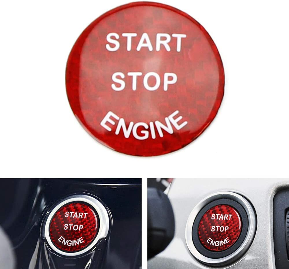 iJDMTOY 1 Gloss Red Real Carbon Fiber Keyless Engine Start//Stop Push Start Button Cover Compatible with BMW 1 2 3 4 5 7 Series, X1 X3 X4 X5 X6, etc
