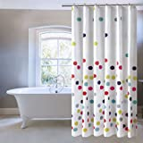 Ufriday Colorful Polka Dots Shower Curtain,Water-Repellent and Mildew-Resistant with Metal Grommets, Cute Pattern Bath Curtain for Kids Decorative, Multicolor on White, Standard Size 72 by 72