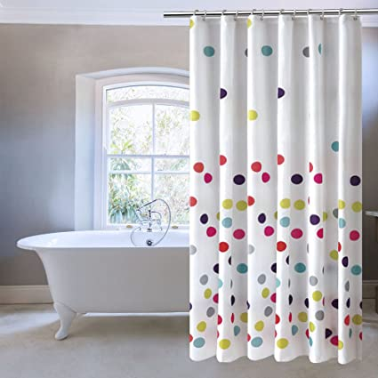 ufriday colorful polka dots shower curtainwater repellent and mildew resistant with metal - Cute Shower Curtains