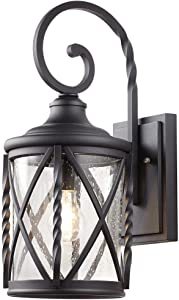 Home Decorators Collection 1-Light Black Outdoor Wall Lantern with Seeded Glass 7954HDCBLDI