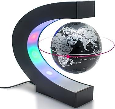Globo Rotante per Decorazione della Casa Blu Regali dAffari GOTOTOP Mappamondo Magnetico 3 Pollici Studente Educazione Globo Fluttuante Levitazione Elettronico con LED Luce Ufficio
