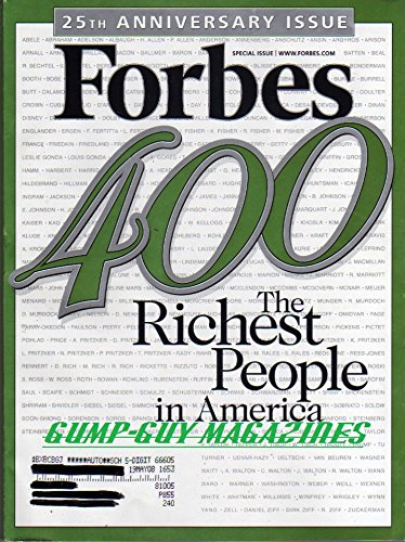 Forbes 400 Richest People In America Special Issue October 8 2007 Harold Hamm T Boone Pickens Charles   William Koch Warren Buffett H Ross Perot David Rockefeller Sr  Ted Turner Gordon Getty R