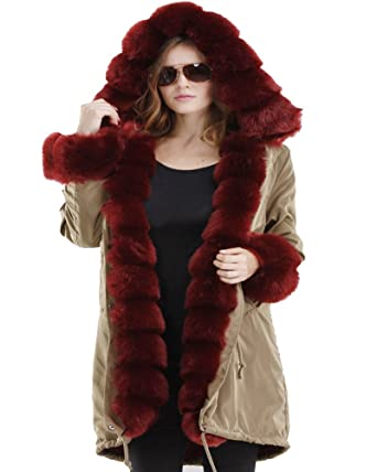 Roiii Women Ladies Winter Long Warm Thick Parka Faux Fur Jacket ...