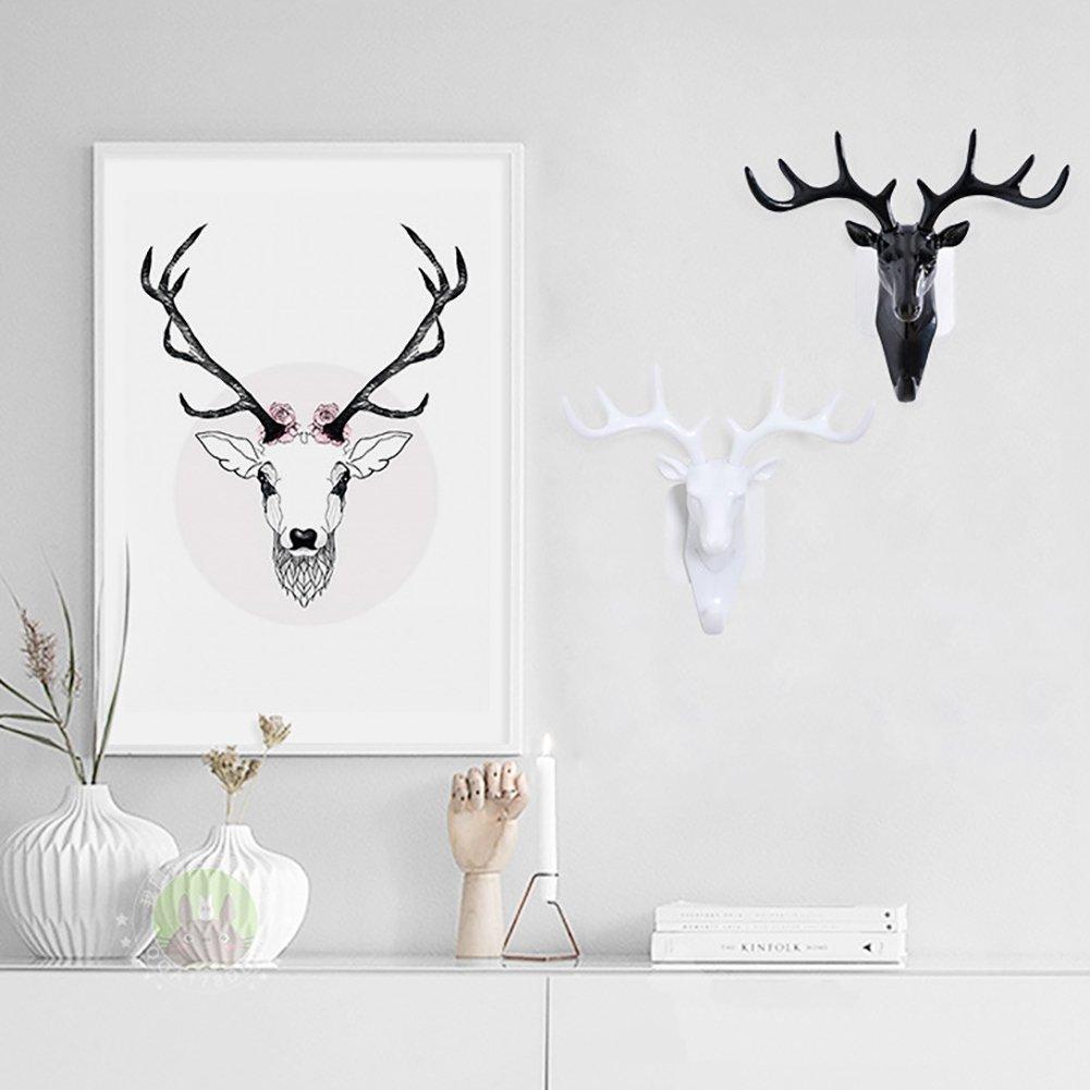 Amazon.com: Cabeza de ciervo decorativa gancho montado en la ...