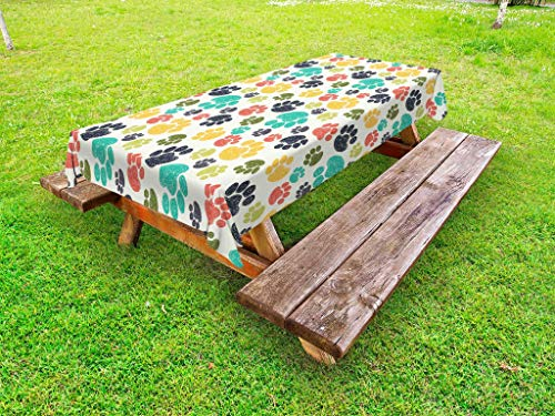 (Ambesonne Dog Lover Outdoor Tablecloth, Cute Hand Drawn Paw Print Doodles Circular Pattern Children Drawing Style Animal, Decorative Washable Picnic Table Cloth, 58 X 84 Inches, Multicolor)