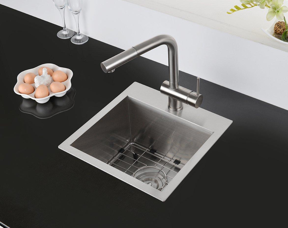 Ruvati 15 x 15 inch Drop-in Topmount Bar Prep Sink 16 Gauge Stainless Steel Single Bowl - RVH8115 by Ruvati (Image #3)