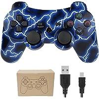 Kepisa Control Inalámbrico Bluetooth para Playstation 3 PS3 con Cable USB (Blue Lightning)
