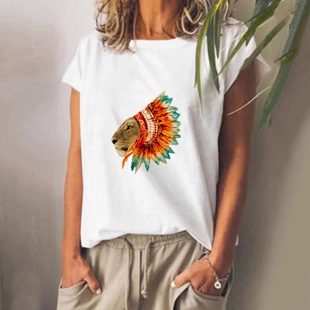 Teresamoon Women/'s Short Sleeve Print O Neck Shirts Tops