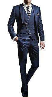 Homme Costume Éléagnt Ensemble 3 Pièces Veste Slim Fit Blazer Uni+Gilet+  Pantalon pour Formel fb9d4a3ce43