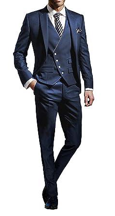 Homme Costume Éléagnt Ensemble 3 Pièces Veste Slim Fit Blazer Uni+Gilet+  Pantalon pour Formel 2b503aa2190