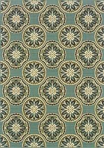 "Oriental Weavers Granville Rugs Monterey Indoor/Outdoor Rug, Blue/Ivory/Brown, 5' 3"" x 7 '6"""