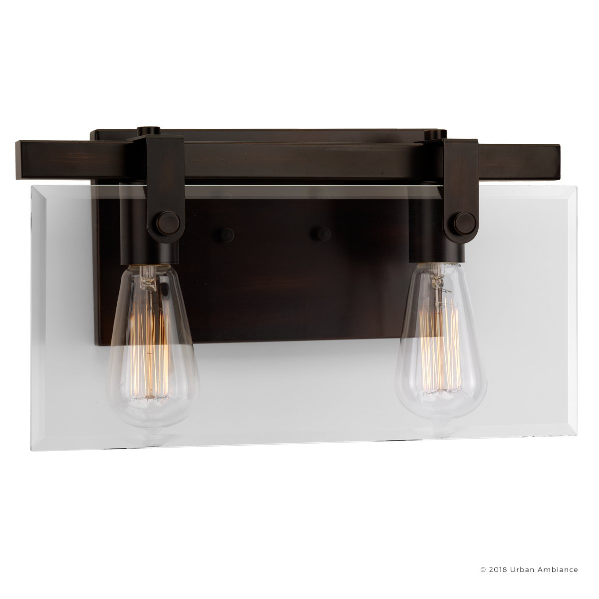 Luxury Modern Farmhouse Bathroom Vanity Light, Medium Size: 8.38'' H x 14.875'' W, with Industrial Chic Style Elements, Olde Bronze Finish, UHP2452 from The Bristol Collection by Urban Ambiance by Urban Ambiance (Image #7)