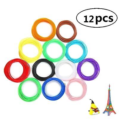 12pcs 3D Stylo Fils Filament PLA, OLSMART 3D Print Filament pour des imprimeurs 3D et des stylos 1.75mm, 5M