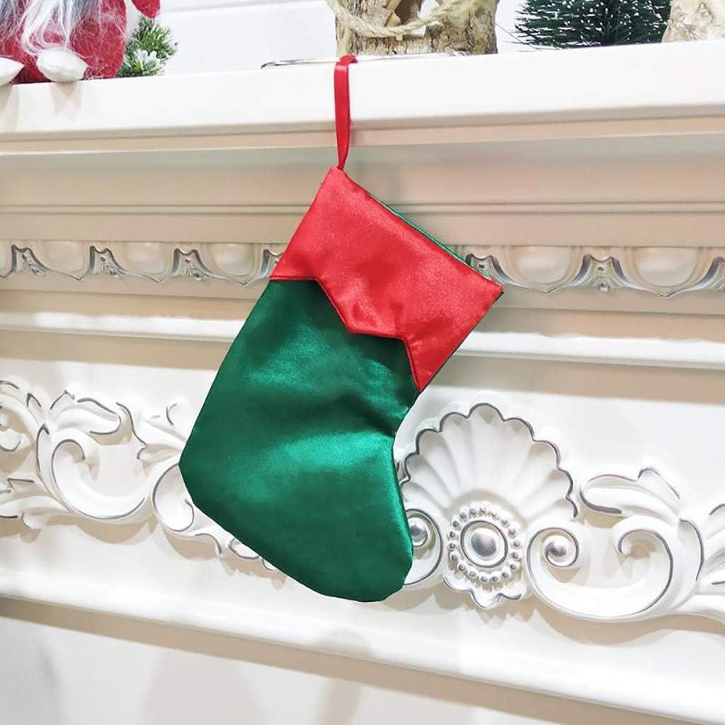 Christmas Stocking Bas de No/ël Botte de Noel Chaussettes Sac Cadeau Suspendue Bonbons TriLance Chaussette de Noel Sac Cadeau de No/ël en Tissu Botte de Noel Mignon D/écoration de Vacances