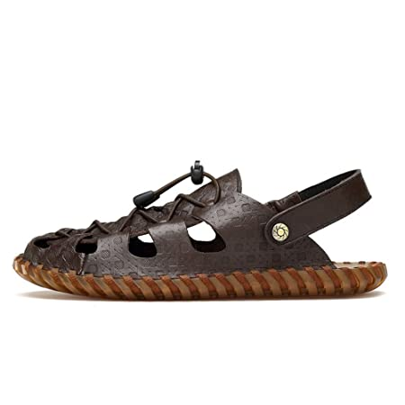 9d679830252 Qingqing Men s Fisherman Sandals Leather Breathable Sandal Non-Slip  Adjustable Summer Beach Slippers Suitable For