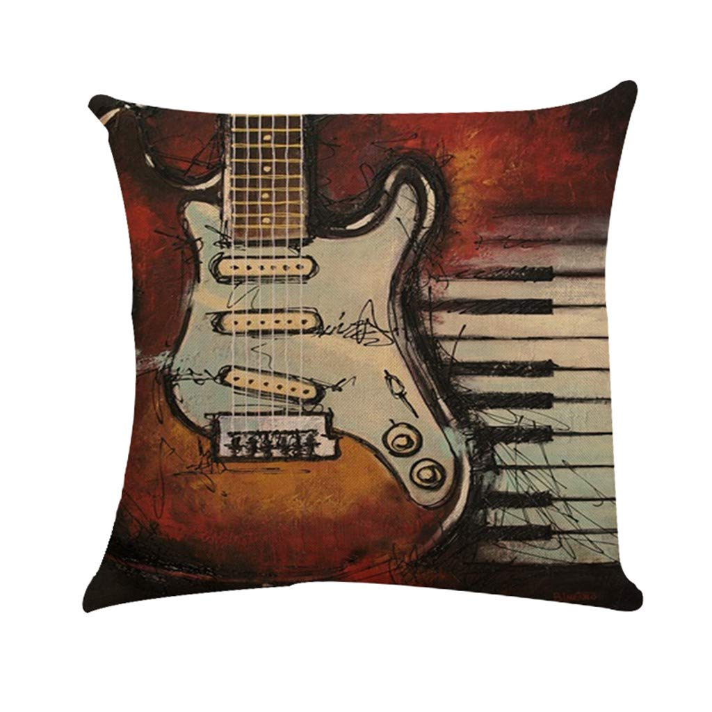 Cyhulu Quote Throw Pillow Cushion Cover, Realistic Instruments Print Square Pillow Case for Home Living Room Bedroom Sofa Art Decoration, Guitar, Saxophone, Piano (A, One size)