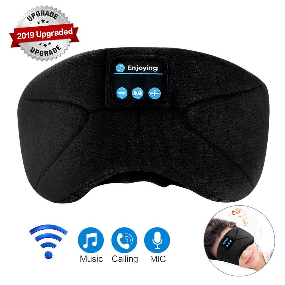 Bluetooth Sleep Mask Sleeping Eye Mask Wireless Travel Music Headsets Eyes Cover with Built-in Earphones Handsfree Microphone
